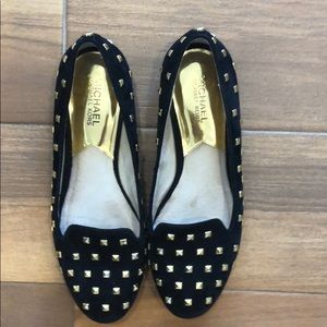 Michael Kors black suede flats with gold studs